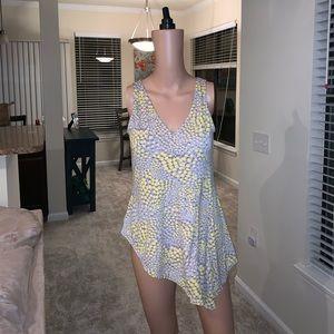 BCBG Paris Yellow & Gray Blouse size M